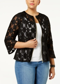 I.n.c. Plus Size Illusion Peplum Jacket, Created for Macy's