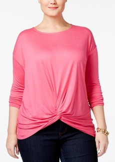Inc International Concepts Plus Size Knotted Top, Only at Macy's