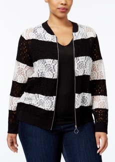 Inc International Concepts Plus Size Lace Bomber Jacket, Only at Macy's