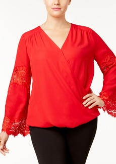 Inc International Concepts Plus Size Lace-Inset Surplice Blouse, Created for Macy's