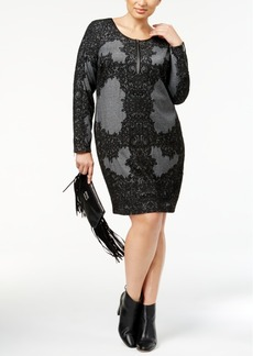 INC International Concepts I.n.c. Plus Size Lace-Print Jacquard Sheath Dress, Created for Macy's