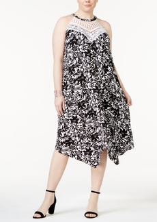 Inc International Concepts Plus Size Lace-Yoke Halter Dress, Created for Macy's