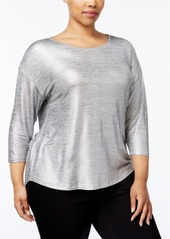 Inc International Concepts Plus Size Metallic High-Low Top, Only at Macy's
