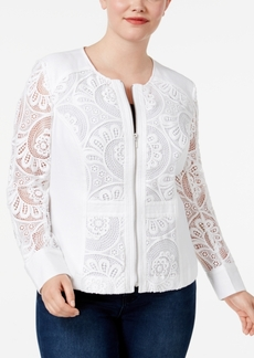Inc International Concepts Plus Size Mixed-Media Jacket, Only at Macy's
