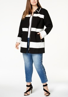 Inc International Concepts Plus Size Mixed-Media Striped Jacket, Created for Macy's