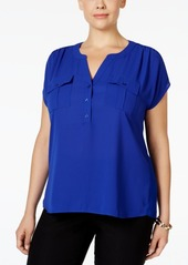 INC International Concepts Inc Plus Size Mixed-Media Utility Shirt, Created for Macy's