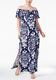 Inc International Concepts Plus Size Off-The-Shoulder Maxi Dress, Only at Macy's
