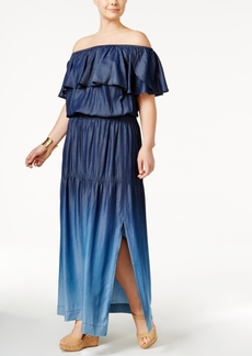 Inc International Concepts Plus Size Off-The-Shoulder Ombre Dress, Only at Macy's