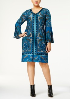 I.n.c. Plus Size Paisley-Print Bell-Sleeve Dress, Created for Macy's