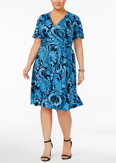 Inc International Concepts Plus Size Paisley-Print Wrap Dress, Created for Macy's