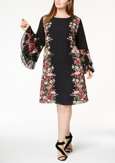 I.n.c. Plus Size Pleated-Sleeve Border-Print Dress, Created for Macy's
