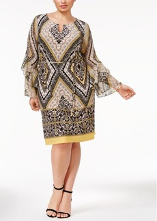 Inc International Concepts Plus Size Printed Bell-Sleeve Sheath Dress, Only at Macy's