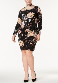 INC International Concepts I.n.c. Plus Size Printed Ruched Sheath Dress, Created for Macy's