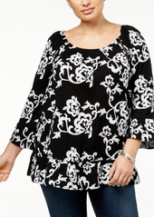 INC International Concepts I.n.c. Plus Size Printed Ruffle Top, Created for Macy's