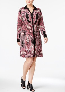 Inc International Concepts Plus Size Printed Shirtdress, Only at Macy's