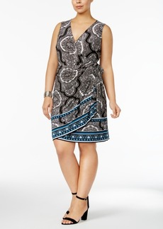 Inc International Concepts Plus Size Printed Wrap Dress, Created for Macy's