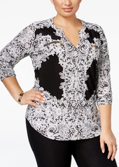 INC International Concepts Inc Plus Size Printed Zip-Pocket Shirt, Created for Macy's