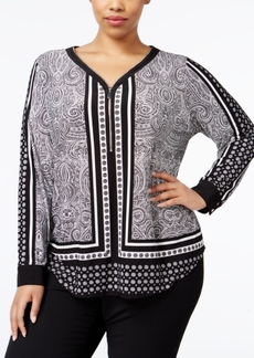 INC International Concepts I.n.c. Plus Size Printed Zip-Up Top, Created for Macy's