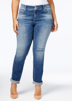 Inc International Concepts Plus Size Tummy Control Ripped Boyfriend Jeans, Created for Macy's