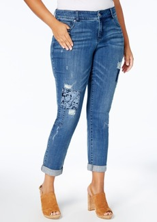 Inc International Concepts Plus Size Tummy Control Ripped Jeans, Created for Macy's