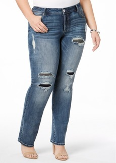 Inc International Concepts Plus Size Ripped Straight-Leg Jeans, Created for Macy's