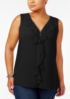 Inc International Concepts Plus Size Ruffled Blouse, Created for Macy's