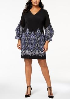 I.n.c. Plus Size Ruffled Border-Print Dress, Created for Macy's
