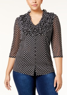 Inc International Concepts Plus Size Ruffled Polka-Dot Blouse, Created for Macy's