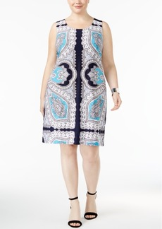 Inc International Concepts Plus Size Scarf-Print Sheath Dress, Only at Macy's