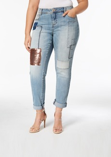 Inc International Concepts Plus Size Sequin-Patch Boyfriend Jeans, Created for Macy's