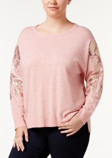 INC International Concepts I.n.c. Plus Size Sequin-Sleeve Sweater, Created for Macy's