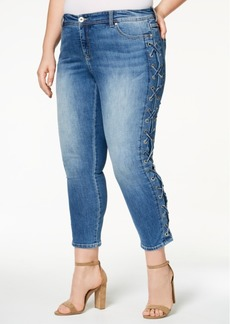 I.n.c. Plus Size Side-Laced Skinny Jeans, Created for Macy's