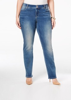 Inc International Concepts Plus Size Slim Tech Straight-Leg Jeans, Only at Macy's