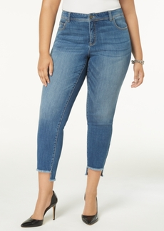 Inc International Concepts Plus Size Tummy Control Step-Hem Skinny Jeans, Created for Macy's