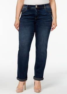 Inc International Concepts Plus Size Tummy Control Straight-Leg Jeans, Created for Macy's