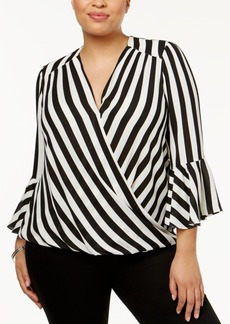 I.n.c. Plus Size Striped Bell-Sleeve Surplice Top, Created for Macy's