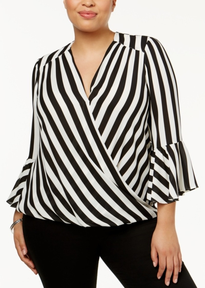 25ab59dc19cfc INC International Concepts I.n.c. Plus Size Striped Bell-Sleeve ...