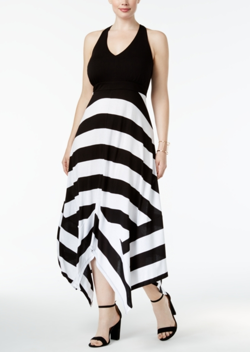 2b799e19941 Inc International Concepts Plus Size Striped Handkerchief-Hem Maxi Dress