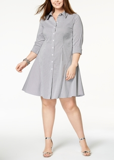 I.n.c. Plus Size Striped Shirtdress, Created for Macy's