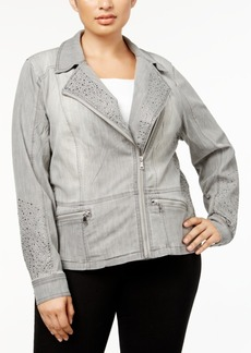 Inc International Concepts Plus Size Studded Moto Jacket, Created for Macy's
