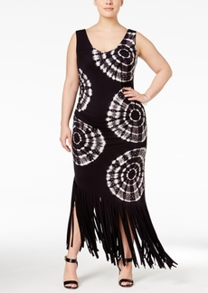 Inc International Concepts Plus Size Tie-Dyed Fringe Maxi Dress, Only at Macy's