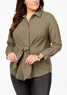 I.n.c. Plus Size Tie-Front Tunic Shirt, Created for Macy's