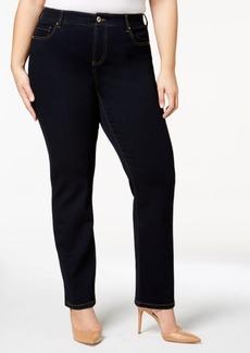 I.n.c. Plus Size Tummy Control Slim Tech Straight-Leg Jeans, Created for Macy's