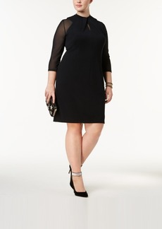 Inc International Concepts Plus Size Twist-Neck Illusion Dress, Created for Macy's