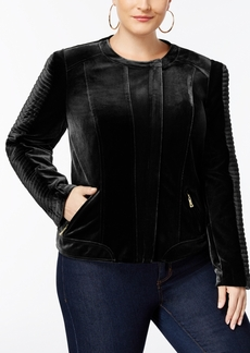 Inc International Concepts Plus Size Velvet Biker Jacket, Created for Macy's