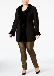 Inc International Concepts Plus Size Velvet Ruffled Coat, Created for Macy's