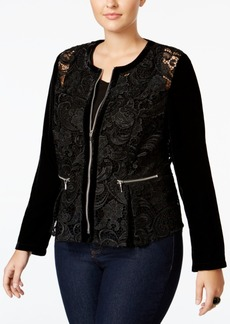 65966213653 INC International Concepts Inc International Concepts Plus Size Velvet-Sleeve  Lace Peplum Jacket
