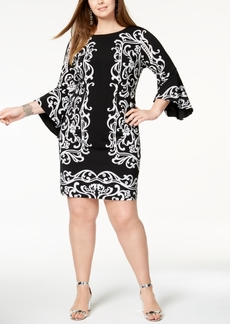 I.n.c. Plus Size Vine-Print Bell-Sleeve Dress, Created for Macy's