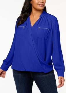 INC International Concepts I.n.c. Plus Size Zip-Pocket Surplice Blouse, Created for Macy's