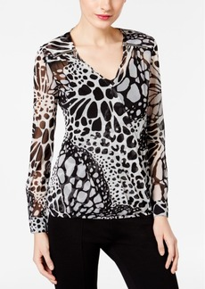 Inc International Concepts Printed Faux-Wrap Top, Only at Macy's